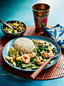 Prawn curry with green vegetable