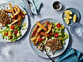 Zesty crusty cod with potatoe wedges
