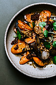 Carrot and shallot medley with mustard caviar