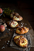 Apricot pastries with cream cheese and almonds