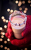 Hot coconut milk with cranberry nectar