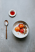 Poached nectarines with Swedish milk and cantuccini