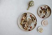 Kabeljau mit Artischocken und Oliven