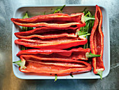 Red pointed peppers, halved