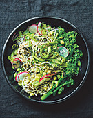 'Green' soba noodles with asparagus, broccolini, edamame, mirin, wasabi and radishes