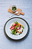 Vegetables with sheep's yoghurt and pesto