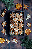 Christmas Gingerbread cookies with dried oranges and cinnamon sticks