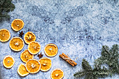 Christmas dried oranges and cinnamon sticks