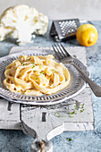Tagliatelle pasta with cauliflower sauce thyme and lemon