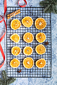 Dried oranges with cinnamon sticks