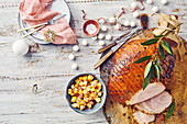Caramel-glazed ham with pineapple salsa