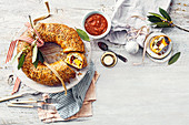 Chicken and roast pumpkin pastry wreath