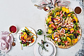 Roast Pork and gravy with orange and beetroot salad