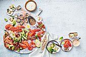 Seafood platter with dips