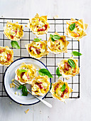 Proscuitto, Persian Fetta and Basil Tarts