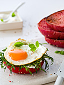 Sunny side up with rucola on a beet bread bun