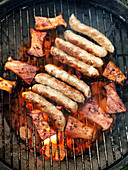 Grilled herb mushrooms and sausages