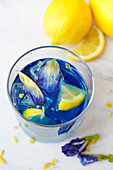 Butterfly pea cocktail with lemons and vodka (or gin)