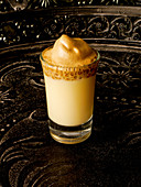 Eggnog with Dalgona coffee foam made from malt coffee