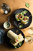 Vegetable wrap with mozzarella and basil mayonnaise