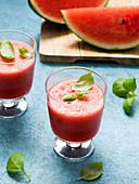 Watermelon juice with basil