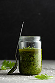 Rucola pesto in a jar