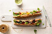 Vegetarian sandwich with basil mayonaise