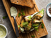 Zucchini sandwich with mint and herb mayonaise