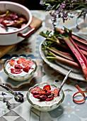 Yogurt with baked strawberries and rhubarb