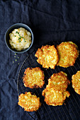Potato fritters with pear sauce