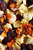 Homemade vegetables crisps (close-up)