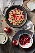 Masfuf (sweet couscous with pomegranate seeds, Tunisia)