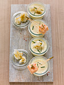 Cauliflower curry soup in glasses