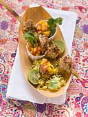 Tandoori skewer with mango salsa and rice