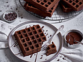 Chocolate waffles with chocolate sauce
