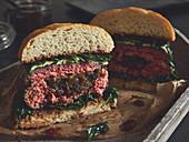 Stuffed pork burger with cheese
