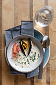 Fish soup with prawns and mussels, Sweden