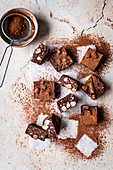 Dark Chocolate Rocky Road Squares with almonds and marshmallows