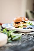 Vegan mini lentil burgers