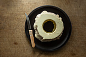 A white baumkuchen on a plate