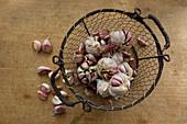 Garlic in a wire basket