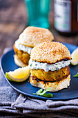 Greek-style baby marrow sliders with lemon raita