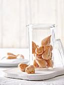 Mutzen almonds in a storage jar