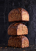 Whole wheat bread with pumpkin seeds, stacked