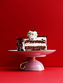 Black Forest cake on a cake plate