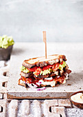 Sandwich with avocado and bacon