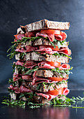 Stacked mixed rye bread sandwiches with salami, tomatoes and arugula