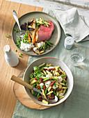Mediterraner Nudelsalat und Roastbeef mit Röstgemüse