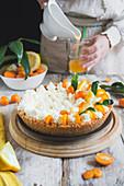 Fresh raw cheesecake similar with fruits