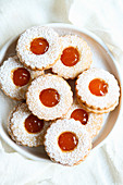 Linzer biscuits with apricot jam
